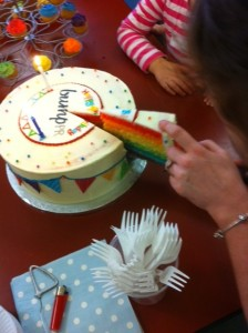 The cake is sliced